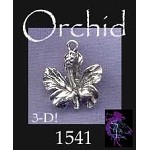Sterling Silver Orchid Charm, 3D