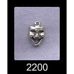 Sterling Silver Comedy Charm, Drama Mask