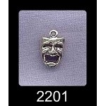 Sterling Silver Tragedy Charm, Drama Mask