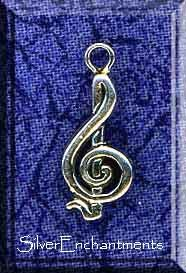 Sterling Silver Treble Clef Charm-Pendant, Musician Jewelry