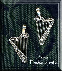 Sterling Silver Small Bailed Harp Charm