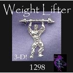Sterling Silver Weight Lifter Pendant, Weightlifting