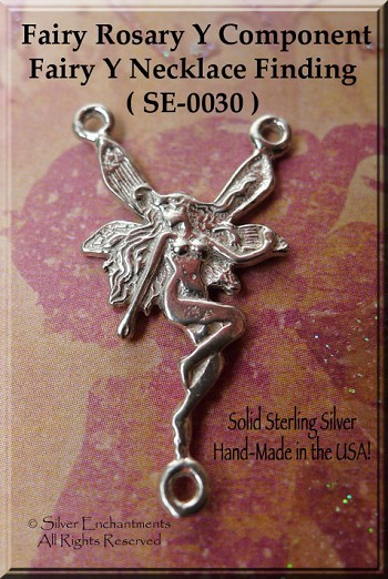 Sterling Silver Fairy Rosary Connector Or Y Necklace Center