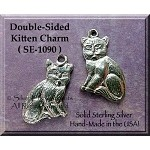 Sterling Silver Kitten Charm, Double-sided