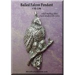 Sterling Silver Falcon Pendant, Bailed Lg
