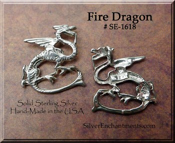 Sterling Silver Fire Dragon with Hidden Bail
