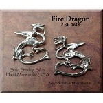 Sterling Silver Dragon Charm, Fire Dragon