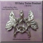 Sterling Silver Fairy Pendant, 3D Fairy Twins