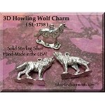 Sterling Silver Wolf Charm-Pendant, 3D Howling