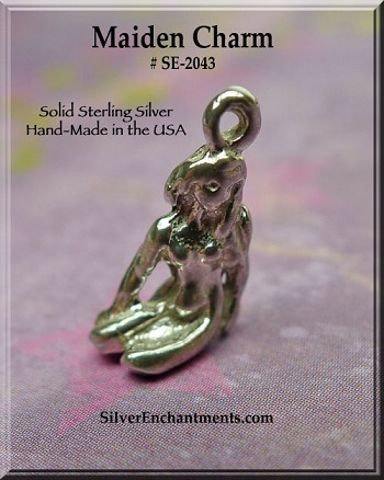 Sterling Silver Maiden Charm, Nude Goddess Jewelry