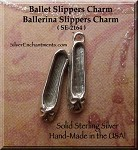Sterling Silver Ballet Charm, Ballerina Slippers Necklace