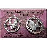 Sterling Silver Virgo Medallion Pendant, Zodiac Astrology