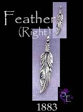 Sterling Silver Beader Bailed Feather Charm, Right