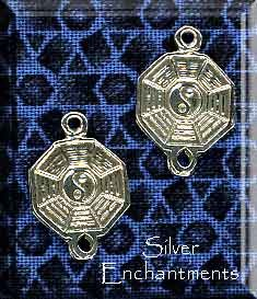 Sterling Silver Yin Yang Jewelry Link - Both Sides Shown