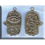 Sterling Silver Ornate Hamsa Pendant, Large 30x20mm