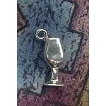 Sterling Silver Chalice Charm, 3D Goblet Wine Glass