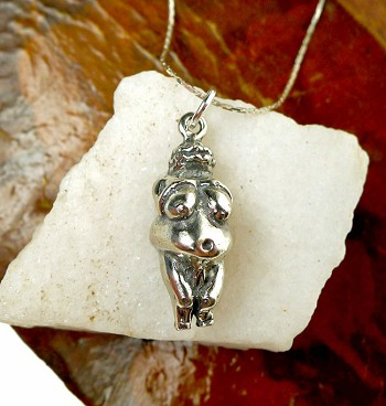 Sterling Silver Venus of Willendorf Pendant, Devotional Goddess