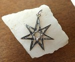 Sterling Silver 7 pointed Star Pendant with 6mm Cab Area, Septagram