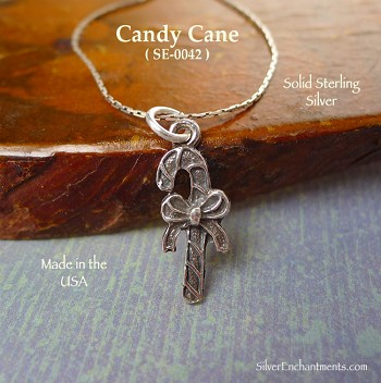 Sterling Silver Candy Cane Charm, Christmas Jewelry