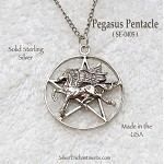 Sterling Silver Pegasus Pentacle Pendant, Fantasy Pagan Jewelry, Hidden Pentacle