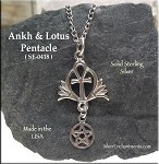 Sterling Silver Egyptian Ankh and Lotus Pentacle Pendant, Egyptian Jewelry, Pagan Jewelry