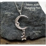 Sterling Silver Crescent Man in the Moon with Star