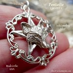 Sterling Silver Wolf Pentacle Pendant, Victorian Pentagram with Wolf Necklace