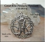 Sterling Silver Celtic Great Rite Pentacle Pendant Necklace, Pagan Sex Magick Jewelry