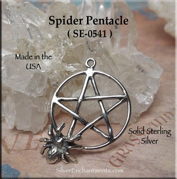 Sterling Silver Spider Pentacle