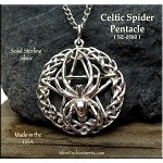 Sterling Silver Celtic Spider Pentacle Pendant