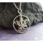 Sterling Silver Marijuana Pentacle, Hemp Leaf Pentagram Jewelry