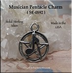 Sterling Silver Musician Pentacle Necklace, Pentacle Charm with Music Note Jewelry