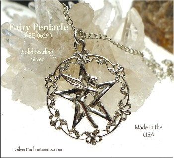 Sterling Silver Victorian Fairy Pentacle Pendant, Fantasy Pagan Jewelry