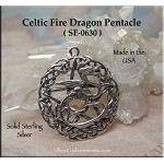 Sterling Silver Celtic Fire Dragon Pentacle Pendant