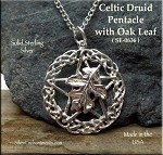 Sterling Silver Celtic Druid Pentacle Pendant with Oak Leaf, Pagan Druid Jewelry