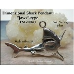 Sterling Silver Shark Pendant, Large Jaws