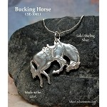 SOLDOUT/ Sterling Silver Horse Pendant, Bucking Rodeo