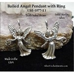 Sterling Silver Robed Angel Dangler Pendant, 3D