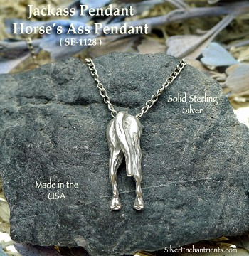 Sterling Silver Jackass Pendant, Horse's Ass