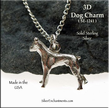 Sterling Silver Boxer Charm, 3D Dog