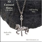 Sterling Silver Carousel Horse Pendant, 3D 25x16mm