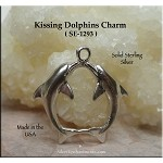 Sterling Silver Dolphins Charm-Pendant, Kissing