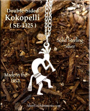 Sterling Silver Kokopelli Pendant, Double-sided