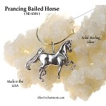 Sterling Silver Horse Pendant, Bailed Prancing