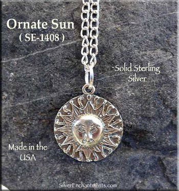 Sterling Silver Sun Charm-Pendant, Ornate Medieval