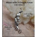Sterling Silver Moon Jewelry Connector, Crescent Moon with 2 Loops