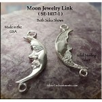 Sterling Silver Moon Jewelry Connector, Crescent Moon with Loop