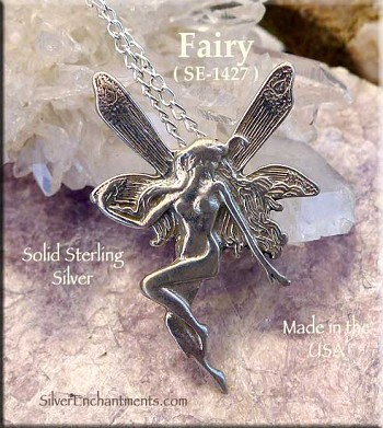 Sterling Silver Fairy Pendant, Victorian with Hidden Bail