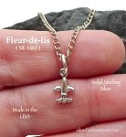 Sterling Silver Fleur-de-Lis Charm, Small French Lily