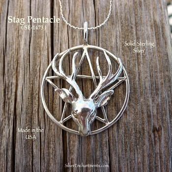 Sterling Silver Stag Pentacle Pendant, Bailed Large